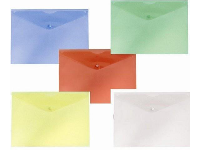 Папка конверт на кнопке А5 Бюрократ белая прозрачная PK804A5clear