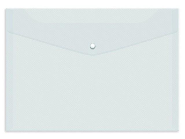 Папка конверт на кнопке В5 белая прозрачная Kanzfile В-5А