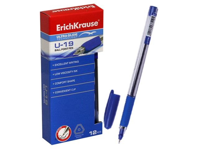 Ручка шариковая Erich Krause U-19 синяя 0.6мм трехгранная ЕК-33519