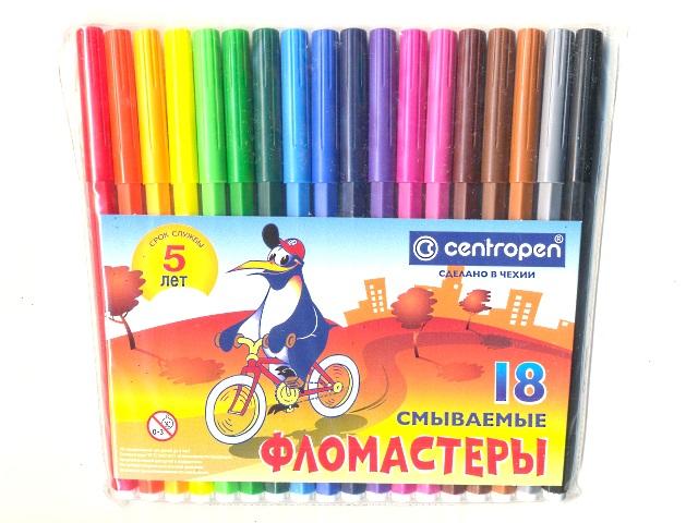 Фломастеры 18цв Centropen смываемые 7790/18 TP