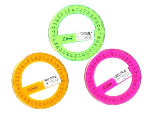 Транспортир 10 см 360* неон цветной Cristal Стамм ТР410