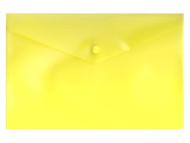 Папка конверт на кнопке А5 желтая прозрачная Бюрократ PK804A5yel