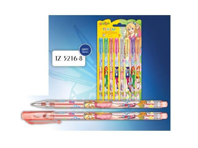 Ручка гелевая детская в наборе 8 цветов, 0.8мм, с блеском, Magic Girl, Tukzar TZ 5216- 8