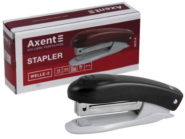 Степлер №10 12л Axent Welle пластик черный с антистеплером 4812-01-А