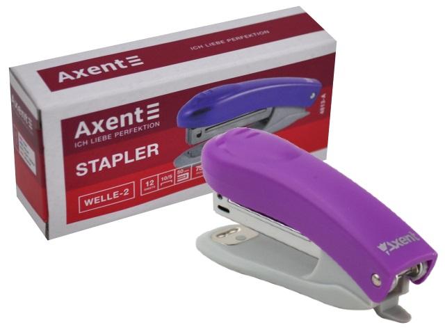 Степлер №10 12л мини Axent пластик Welle-2 фиолетовый с антистеплером 4813-11-A