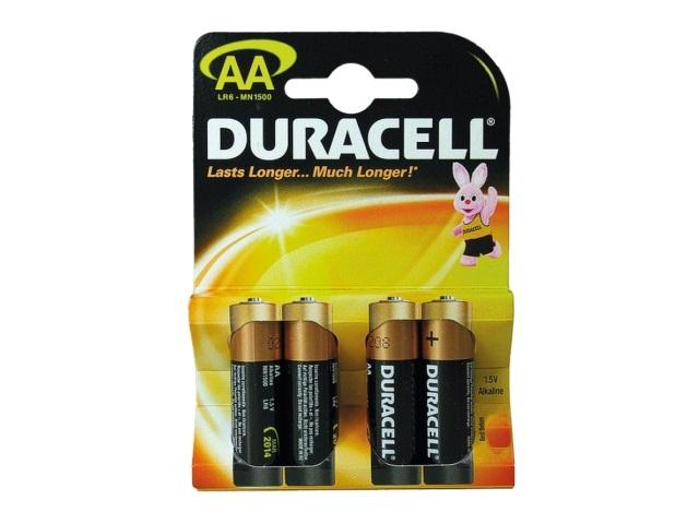 Батарейка пальчиковая 4 шт. LR6 щелочная Duracell MN1500