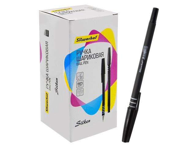 Ручка шариковая Silwerhof Silken черная 0.7мм 1206590