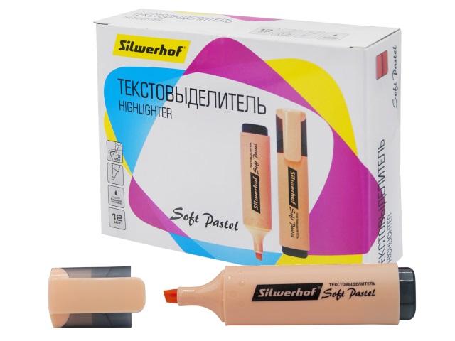 Маркер текстовый Silwerhof Soft Pastel персиковый скошенный 1-5мм 1218358