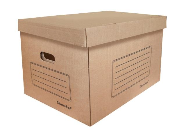 Короб архивный с крышкой картон Silwerhof 35.5*26.5*44см СК-11 коричневый 1373443