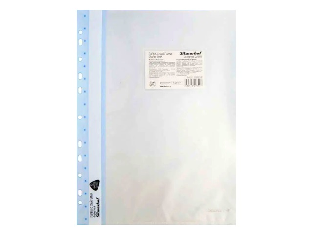Папка с файлами  20ф А4 Silwerhof с карманом голубая 255121-02