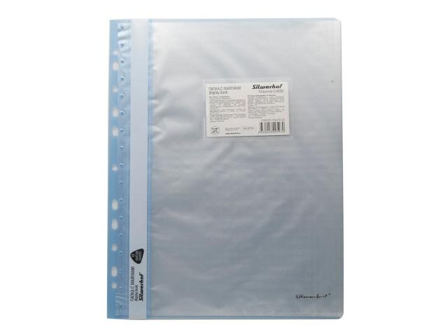 Папка с файлами  10ф А4 Silwerhof с карманом голубая 255120-02