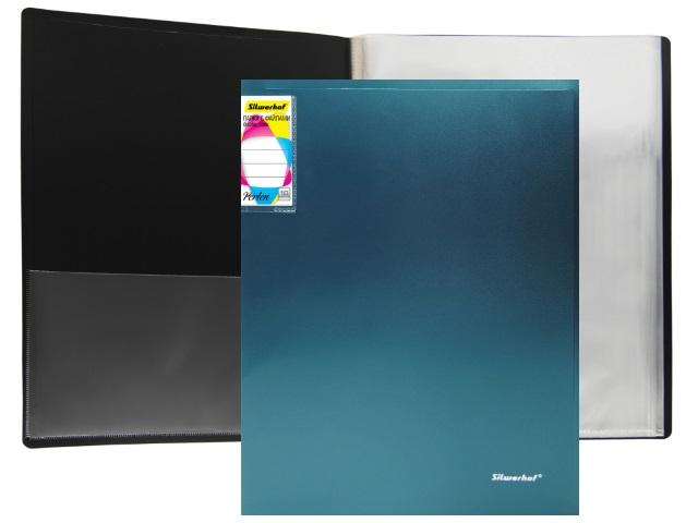 Папка с файлами  10ф А4 Silwerhof Perlen 0.6мм с карманом зеленый металлик 292911-75