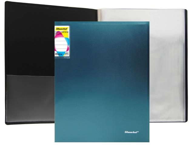 Папка с файлами  20ф А4 Silwerhof Perlen 0.8мм с карманом зеленый металлик 292921-75