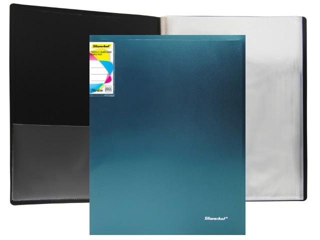 Папка с файлами  80ф А4 Silwerhof Perlen 0.8мм с карманом зеленый металлик 292981-75