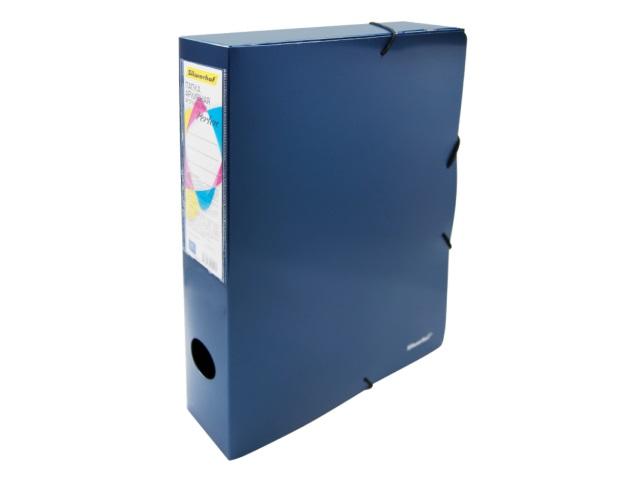 Папка-бокс на резинке А4 Silwerhof Perlen  5.5см синий металлик 0.8мм 311917-74