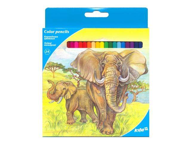 Карандаши цветные 24цв Kite Животные шестигранные K17-055-1