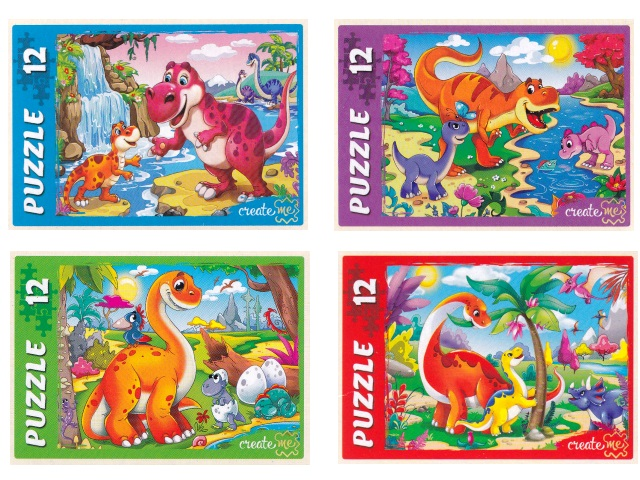 Пазлы Maxi 12 деталей Рыжий кот Яркие динозавры микс П12-0620