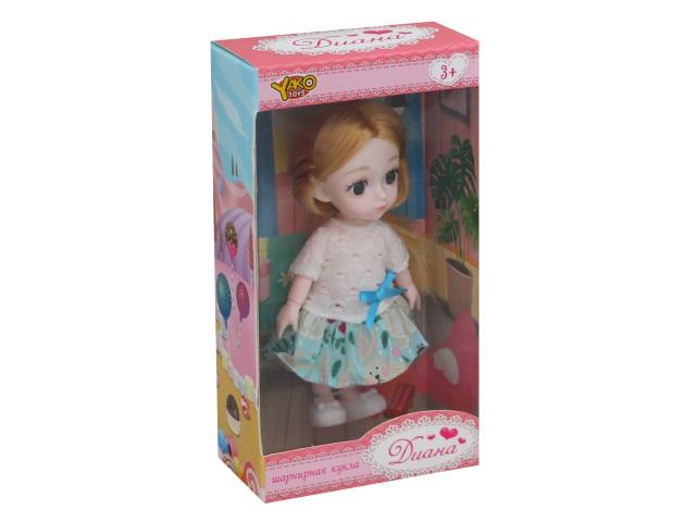 Кукла шарнирная Диана 15см в летнем наряде микс YakoToys М0574-1