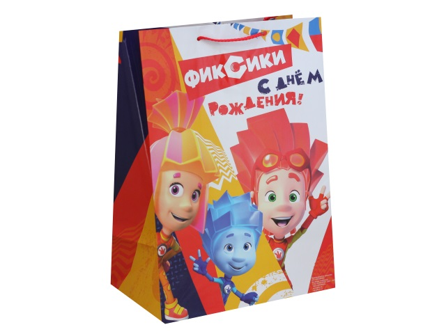 Пакет подарочный бумажный 33*46*20см Shantou Фиксики CLRBG-FIXHB-03-1