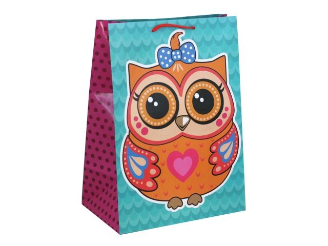 Пакет подарочный бумажный 33*46*20см Shantou Совы CLRBG-SOV2-03