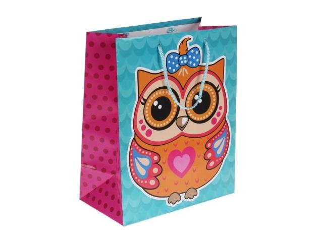 Пакет подарочный бумажный 26*32*14см Shantou Совы CLRBG-SOV2-02
