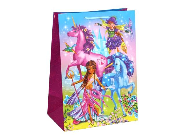 Пакет подарочный бумажный 33*46*20см Shantou Феи и Единороги CLRBG-FEI-03