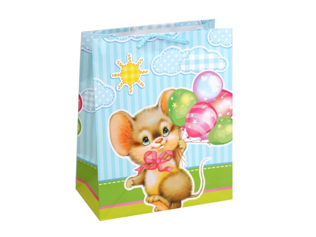 Пакет подарочный бумажный 26*32*14см Shantou Мышка CLRBG-NYS1-02-1