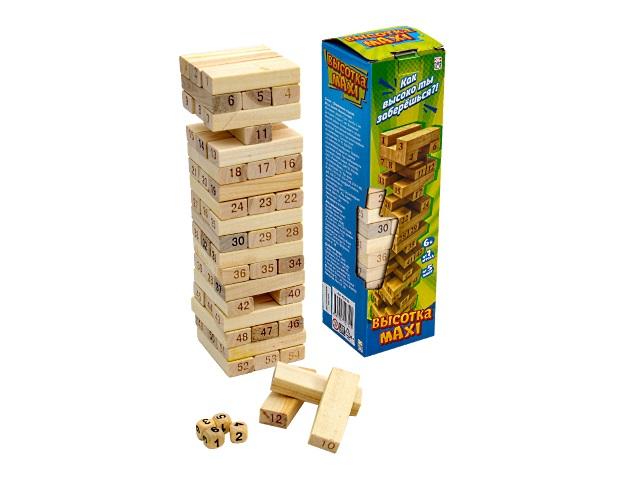Настольная игра Дженга дерево Башня Высотка Maxi Рыжий кот ИД-0752