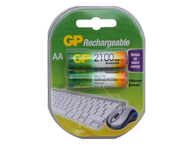 Батарейки аккумуляторные 2 шт. GP HR6 AA 2100 mAh BL-2