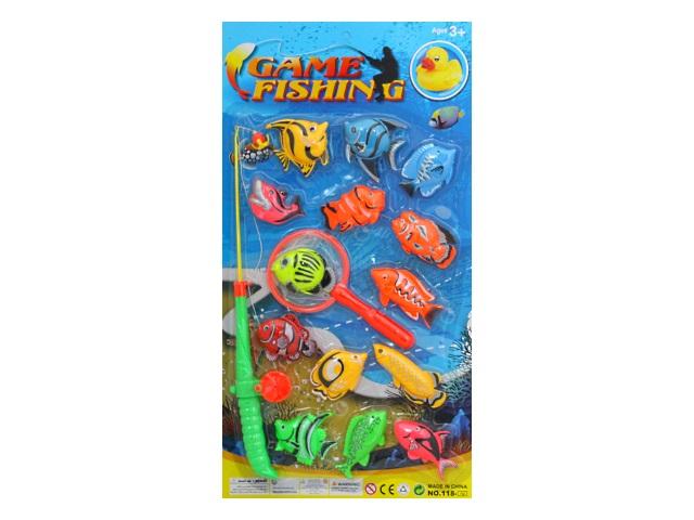 Рыбалка 14 рыбок удочка сачок Крупный улов Рыжий кот 1675463