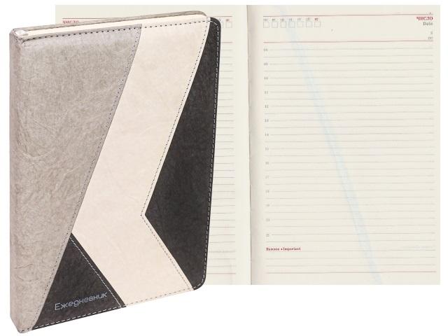 Ежедневник А5 кожзам 136л Collezione Крафт-стиль черный 136-5178