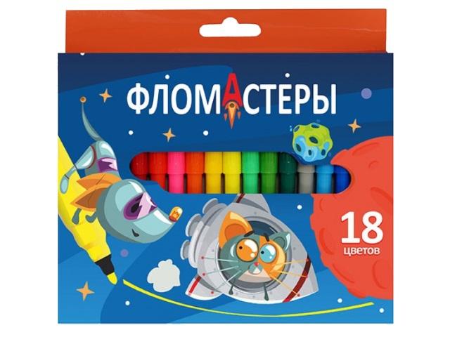 Фломастеры 18цв J.Otten Космик и Плутоша 6816КР-18