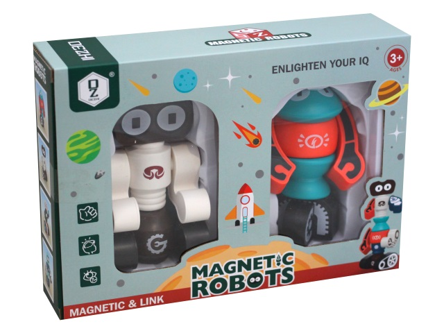 Конструктор магнитный  12 деталей Рыжий кот Космические роботы 1925801