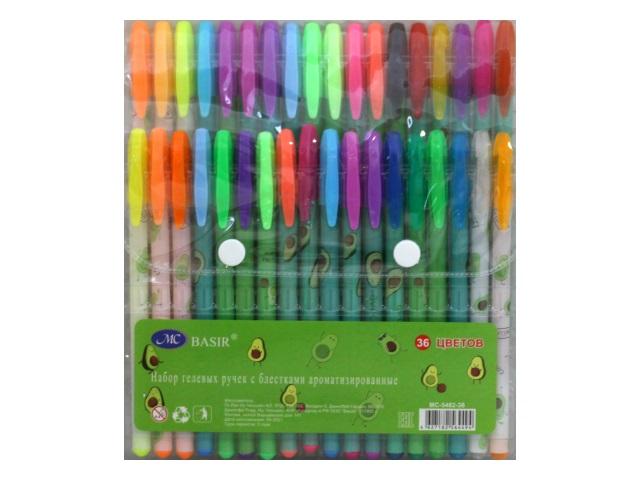 Ручка гелевая набор  36цв Basir Авокадо 0.5мм неон с блестками МС-5482-36
