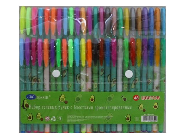 Ручка гелевая набор  48цв Basir Авокадо 0.5мм неон с блестками МС-5482-48