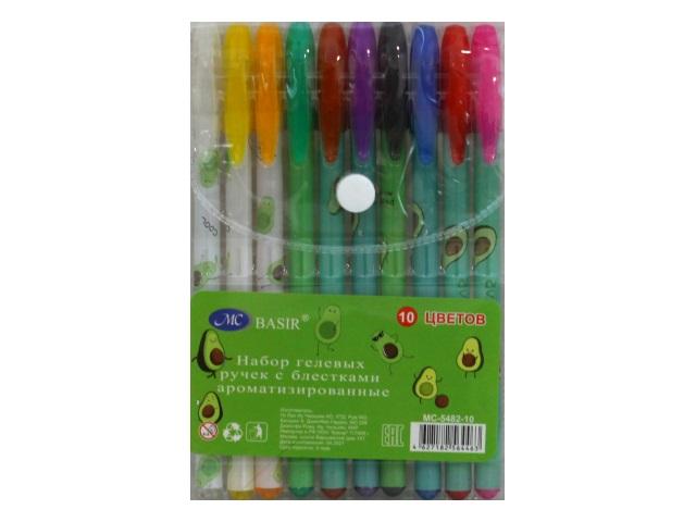 Ручка гелевая набор  10цв Basir Авокадо 0.5мм неон с блестками МС-5482-10