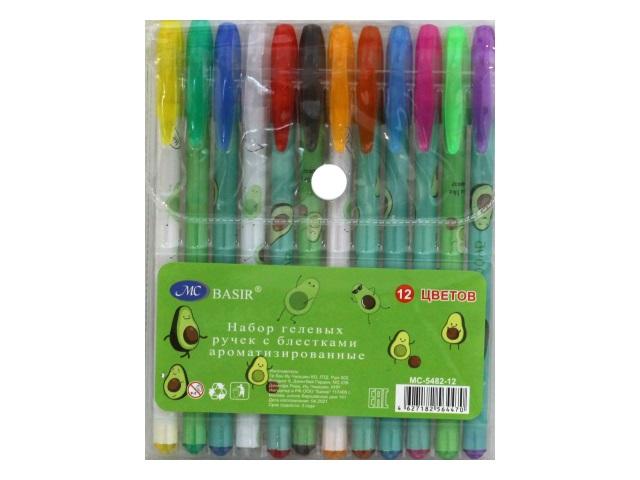 Ручка гелевая набор  12цв Basir Авокадо 0.5мм неон с блестками МС-5482-12