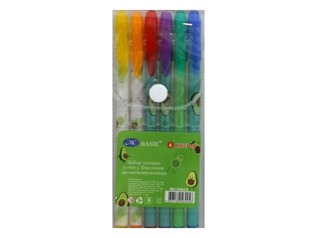 Ручка гелевая набор   6цв Basir Авокадо 0.5мм неон с блестками МС-5482-6