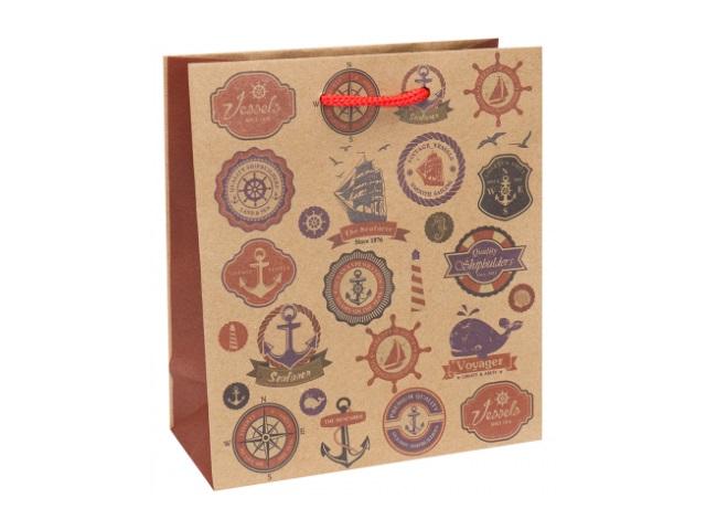 Пакет подарочный бумажный 16*18*7см Miland крафт Морские знаки ПКП-3517