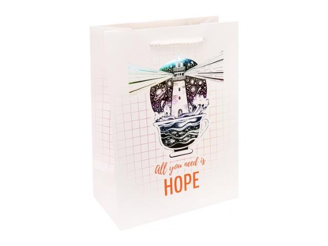 Пакет подарочный бумажный 18*23*10см Miland Все. что нужно- надежда ПКП-3449