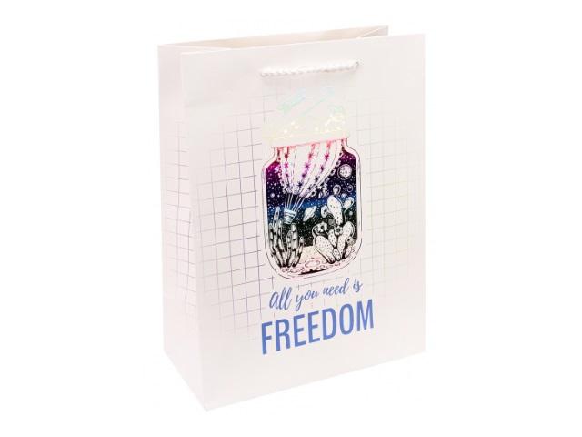Пакет подарочный бумажный 18*23*10см Miland Все. что нужно- свобода ПКП-3448