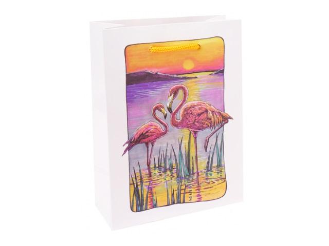 Пакет подарочный бумажный 18*23* 8см Miland Фламинго на закате ППК-6278