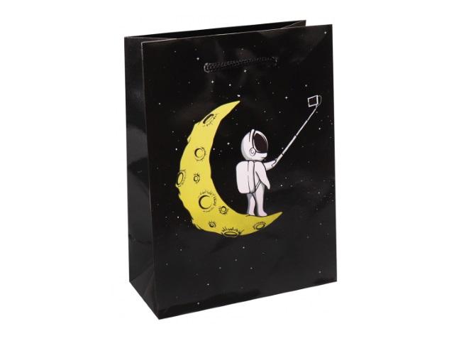 Пакет подарочный бумажный 18*23* 8см Miland Селфи на луне ППК-6279