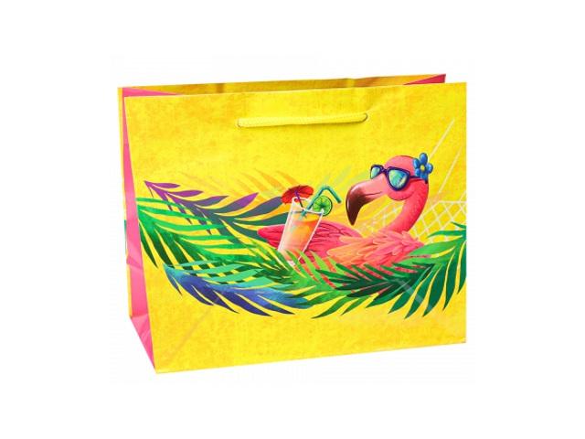 Пакет подарочный бумажный 23*18*10см Miland Фламинго на отдыхе ПКП-1822