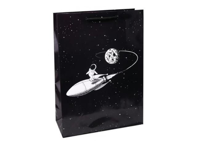 Пакет подарочный бумажный 26.4*32.7*13.6см Miland Космонавт на ракете ПКП-3587
