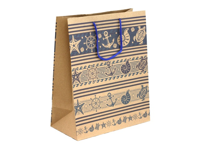 Пакет подарочный бумажный 26.4*32.7*13.6см Miland крафт Морские узоры ПП-9209