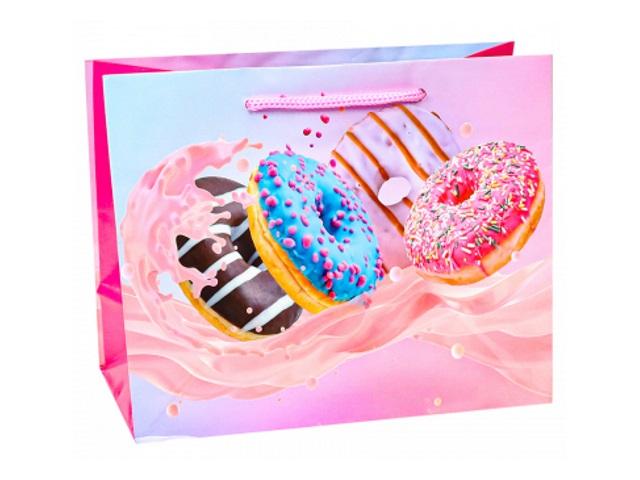 Пакет подарочный бумажный 42*52*16см Miland Пончики в яркой глазури ПКП-1856