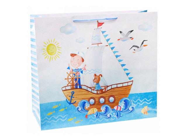 Пакет подарочный бумажный 42*45*21см Miland Юный моряк ПКП-6770