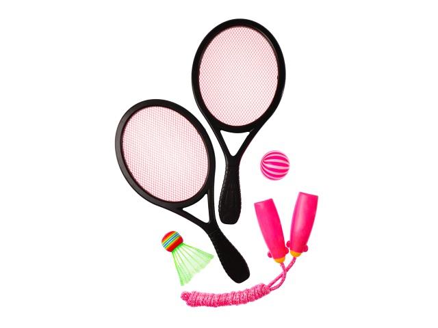 Спортивный набор Скакалка+ракетки мини +воланчик+мяч 1884856