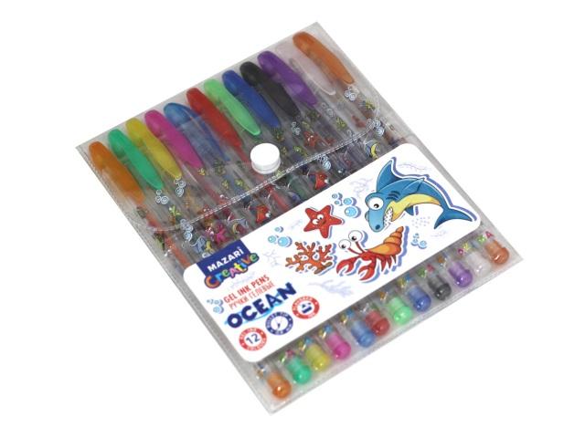 Ручка гелевая набор  12цв Mazari Ocean 0.8мм M-5425-12